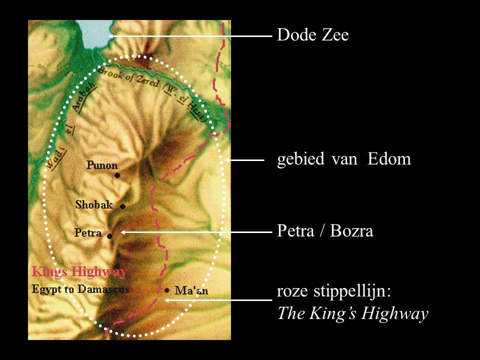 Dode Zee gebied van Edom Petra / Bozra roze stippellijn: The King's Highway