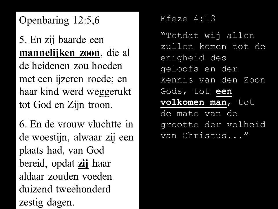 Openbaring 12:5,6 5. En zij baarde een mannelijken zoon, die al de heidenen zou hoeden met een ijzeren roede; en haar kind werd weggerukt tot God en Z