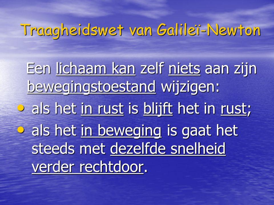 Traagheidswet van Galileï-Newton Een lichaam kan zelf niets aan zijn bewegingstoestand wijzigen: Een lichaam kan zelf niets aan zijn bewegingstoestand