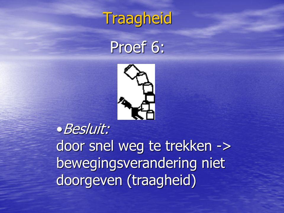 Traagheid Denk na en antwoord: F.staat rechtop in de tram, tram remt -> F.