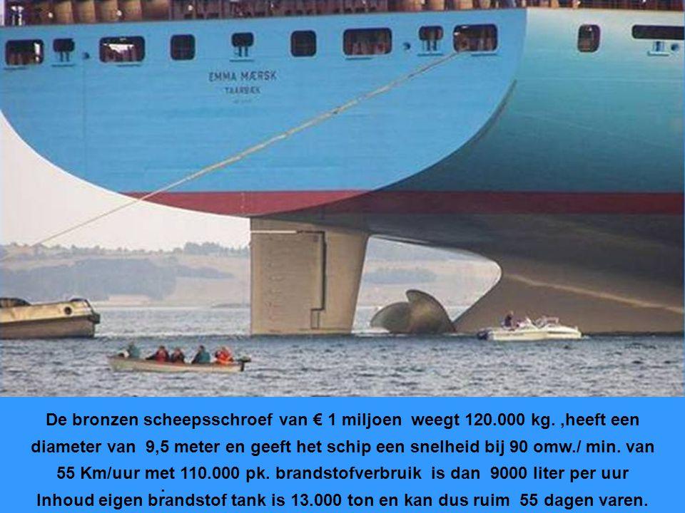 De bronzen scheepsschroef van € 1 miljoen weegt 120.000 kg.,heeft een diameter van 9,5 meter en geeft het schip een snelheid bij 90 omw./ min.