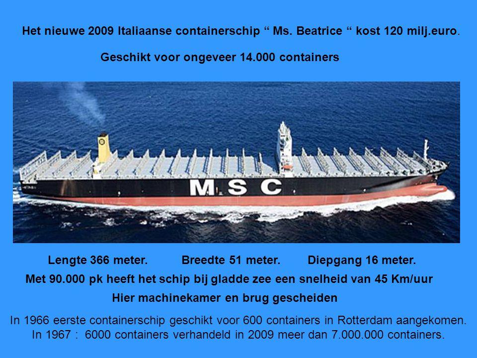 Het nieuwe 2009 Italiaanse containerschip Ms.Beatrice kost 120 milj.euro.