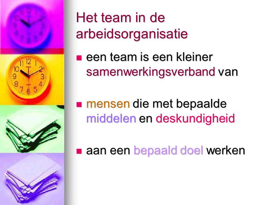 Het team in de arbeidsorganisatie  een team is een kleiner samenwerkingsverband van  mensen die met bepaalde middelen en deskundigheid  aan een bep