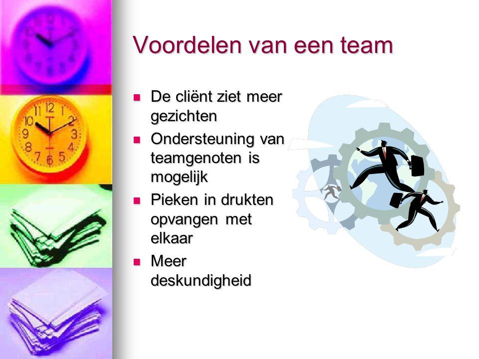 Voordelen van een team  De cliënt ziet meer gezichten  Ondersteuning van teamgenoten is mogelijk  Pieken in drukten opvangen met elkaar  Meer desk