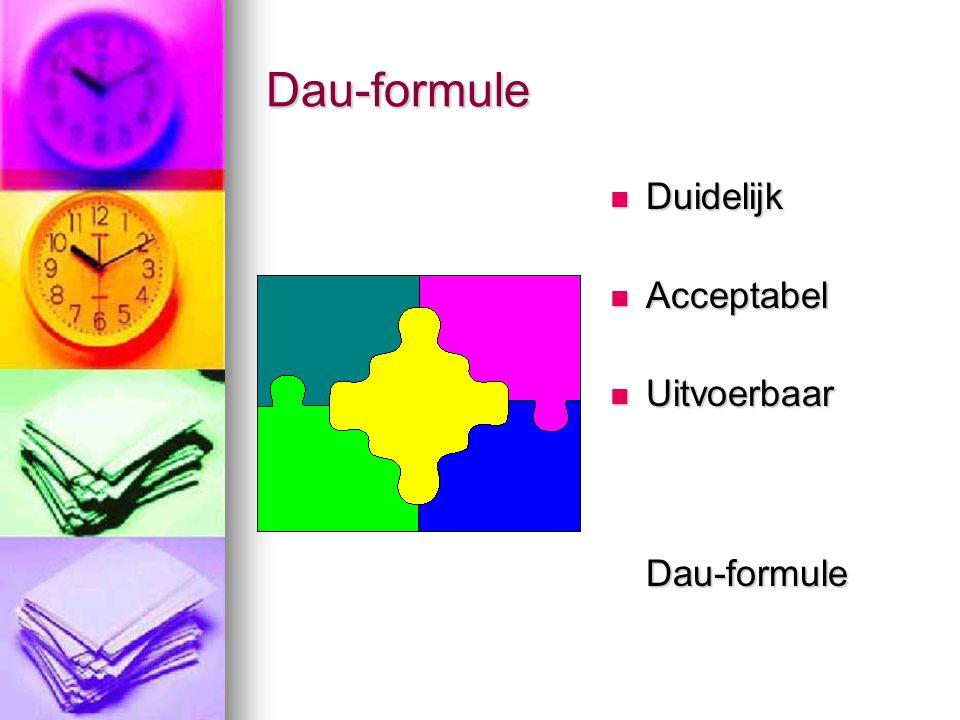 Dau-formule  Duidelijk  Acceptabel  Uitvoerbaar Dau-formule