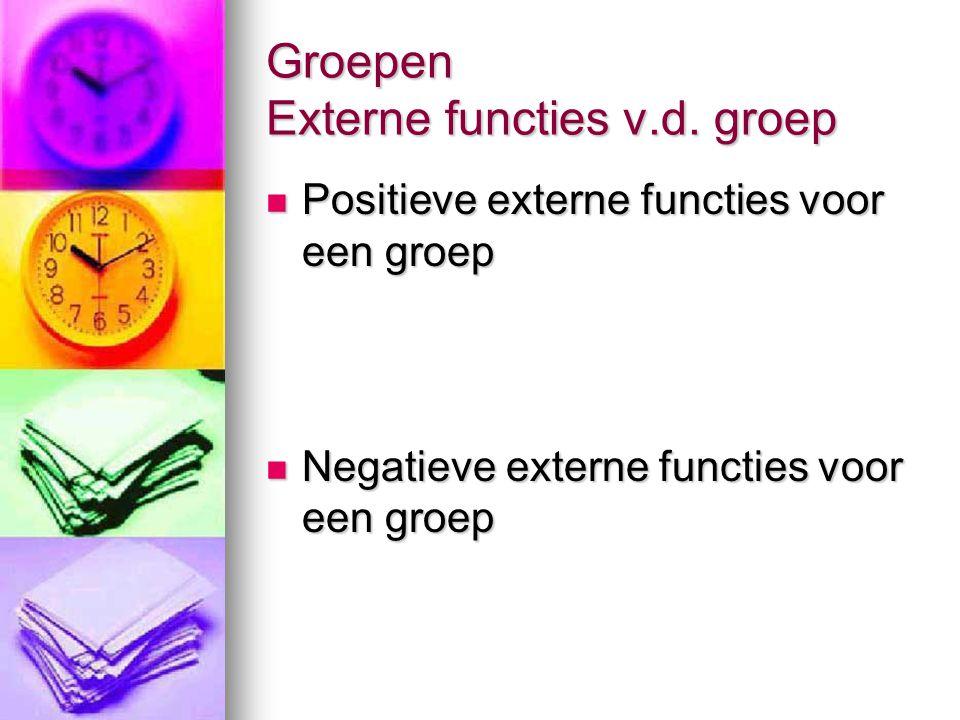 Groepen Externe functies v.d. groep  Positieve externe functies voor een groep  Negatieve externe functies voor een groep