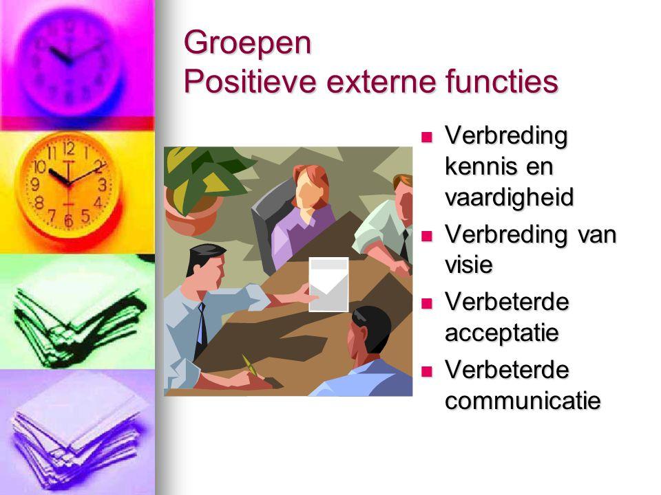 Groepen Positieve externe functies  Verbreding kennis en vaardigheid  Verbreding van visie  Verbeterde acceptatie  Verbeterde communicatie