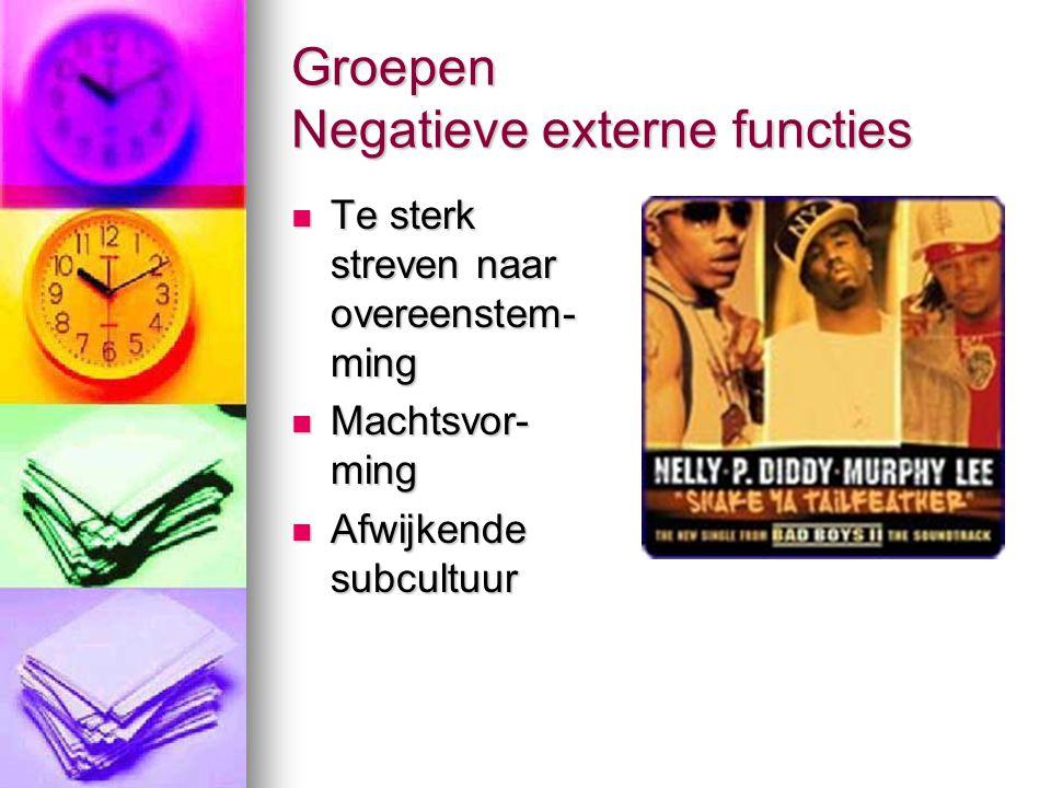 Groepen Negatieve externe functies  Te sterk streven naar overeenstem- ming  Machtsvor- ming  Afwijkende subcultuur