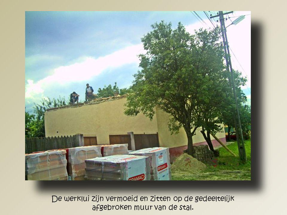 De stal van binnenuit gezien, zonder dak. Het leek of er een explosie had plaats gevonden.