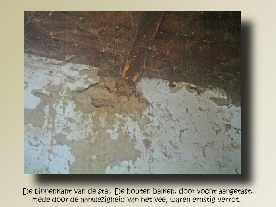 Dit gedeelte van het dak van de stal bevond zich in een zeer slechte staat van onderhoud en was al deels naar onderen weggezakt.