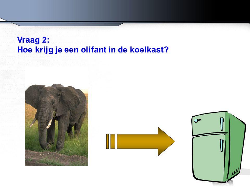 Fout antwoord: de koelkast opendoen, de olifant erin stoppen en de deur sluiten.