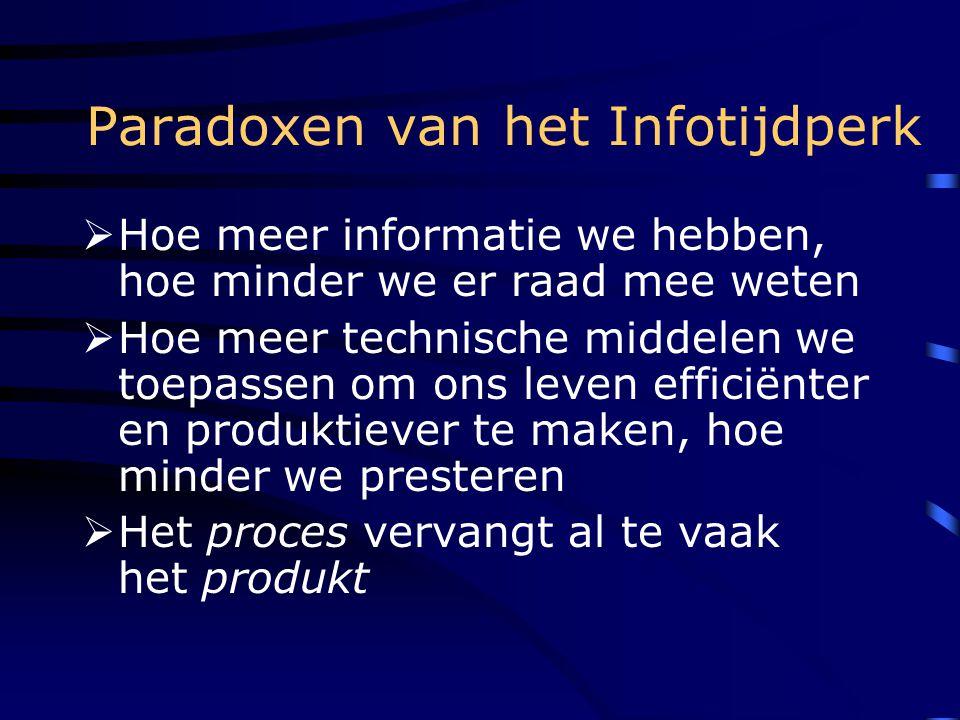 Paradoxen van het Infotijdperk  Hoe meer informatie we hebben, hoe minder we er raad mee weten  Hoe meer technische middelen we toepassen om ons leven efficiënter en produktiever te maken, hoe minder we presteren  Het proces vervangt al te vaak het produkt
