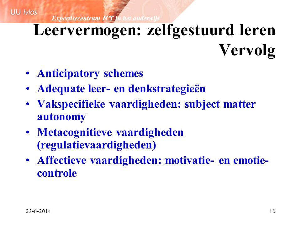 Expertisecentrum ICT in het onderwijs 23-6-201410 Leervermogen: zelfgestuurd leren Vervolg •Anticipatory schemes •Adequate leer- en denkstrategieën •V