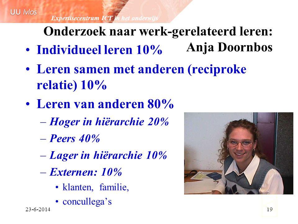 Expertisecentrum ICT in het onderwijs 23-6-201419 Onderzoek naar werk-gerelateerd leren: Anja Doornbos •Individueel leren 10% •Leren samen met anderen