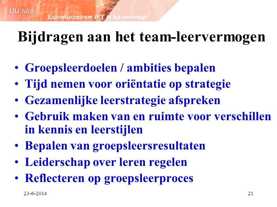 Expertisecentrum ICT in het onderwijs 23-6-201421 Bijdragen aan het team-leervermogen •Groepsleerdoelen / ambities bepalen •Tijd nemen voor oriëntatie