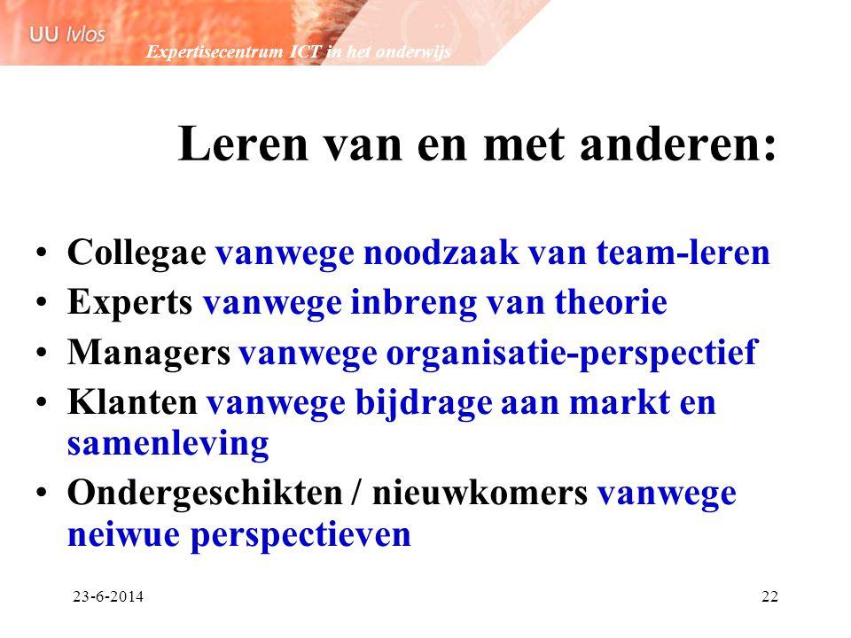 Expertisecentrum ICT in het onderwijs 23-6-201422 Leren van en met anderen: •Collegae vanwege noodzaak van team-leren •Experts vanwege inbreng van the