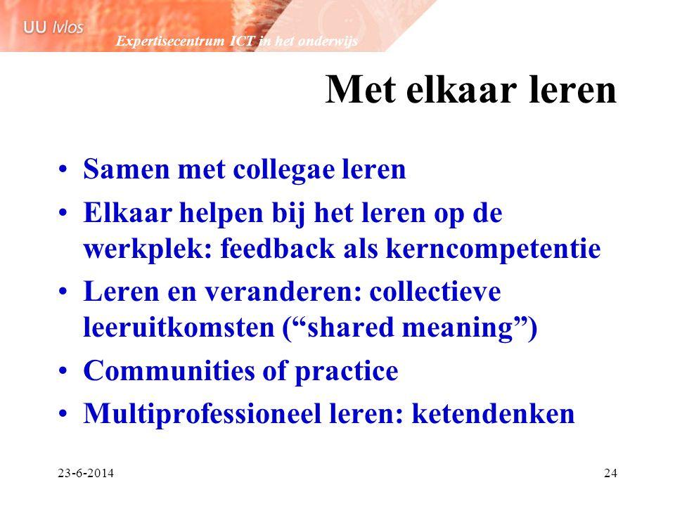 Expertisecentrum ICT in het onderwijs 23-6-201424 Met elkaar leren •Samen met collegae leren •Elkaar helpen bij het leren op de werkplek: feedback als