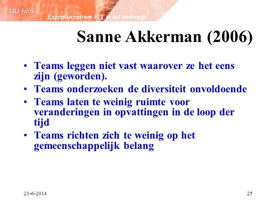 Expertisecentrum ICT in het onderwijs 23-6-201425 Sanne Akkerman (2006) •Teams leggen niet vast waarover ze het eens zijn (geworden). •Teams onderzoek