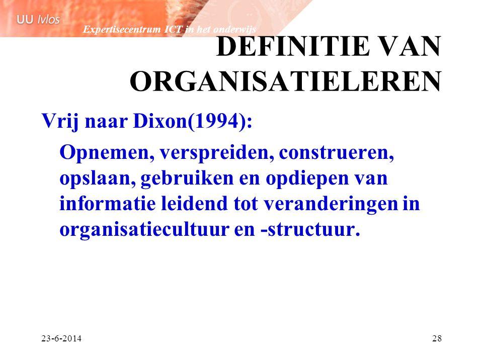 Expertisecentrum ICT in het onderwijs 23-6-201428 DEFINITIE VAN ORGANISATIELEREN Vrij naar Dixon(1994): Opnemen, verspreiden, construeren, opslaan, ge