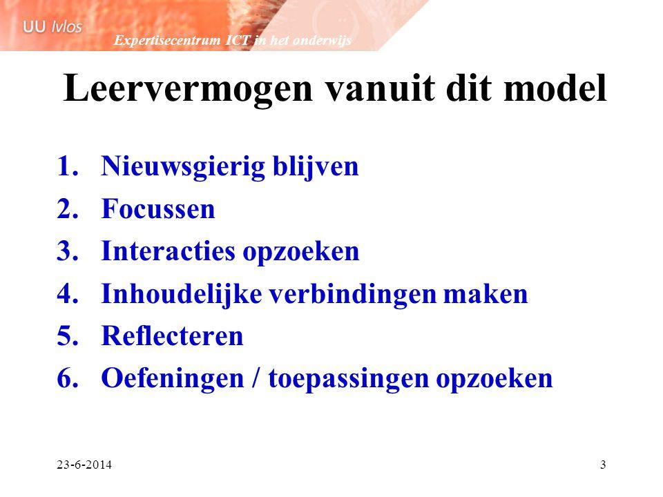 Expertisecentrum ICT in het onderwijs 23-6-20143 Leervermogen vanuit dit model 1.Nieuwsgierig blijven 2.Focussen 3.Interacties opzoeken 4.Inhoudelijke