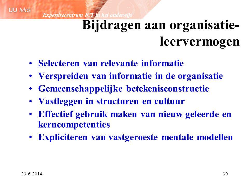 Expertisecentrum ICT in het onderwijs 23-6-201430 Bijdragen aan organisatie- leervermogen •Selecteren van relevante informatie •Verspreiden van inform