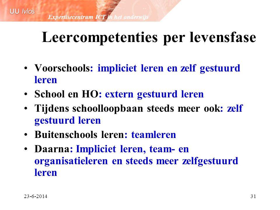 Expertisecentrum ICT in het onderwijs 23-6-201431 Leercompetenties per levensfase •Voorschools: impliciet leren en zelf gestuurd leren •School en HO: