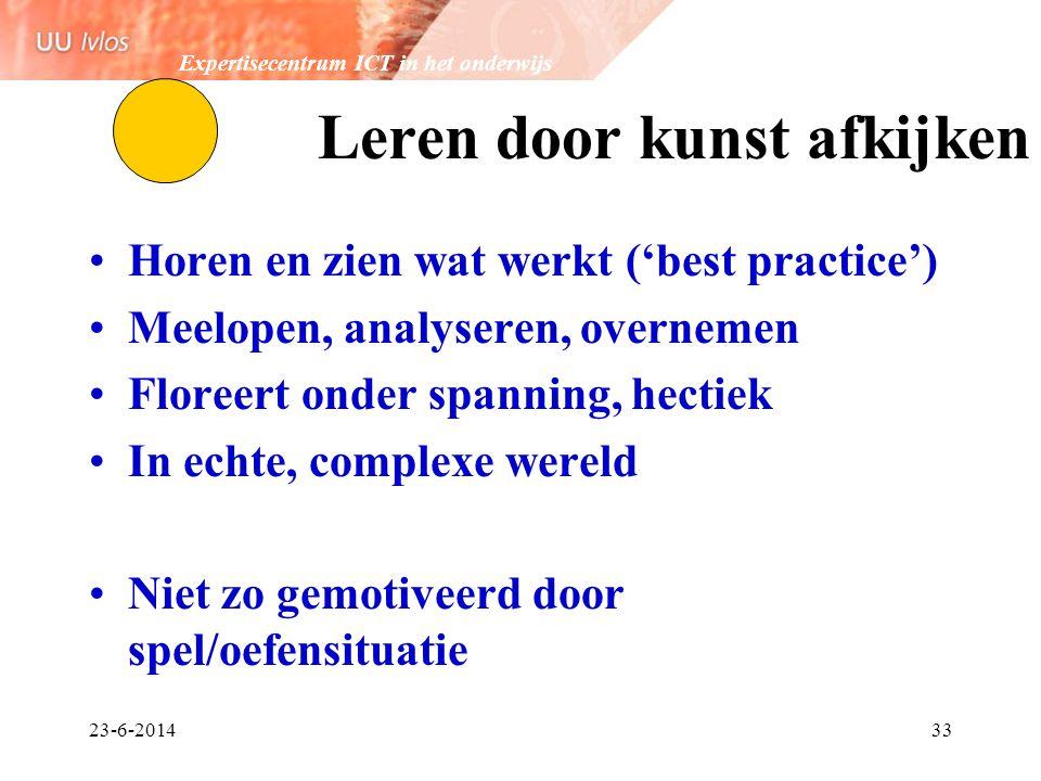 Expertisecentrum ICT in het onderwijs 23-6-201433 Leren door kunst afkijken •Horen en zien wat werkt ('best practice') •Meelopen, analyseren, overneme