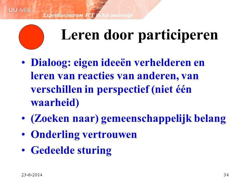Expertisecentrum ICT in het onderwijs 23-6-201434 Leren door participeren •Dialoog: eigen ideeën verhelderen en leren van reacties van anderen, van ve