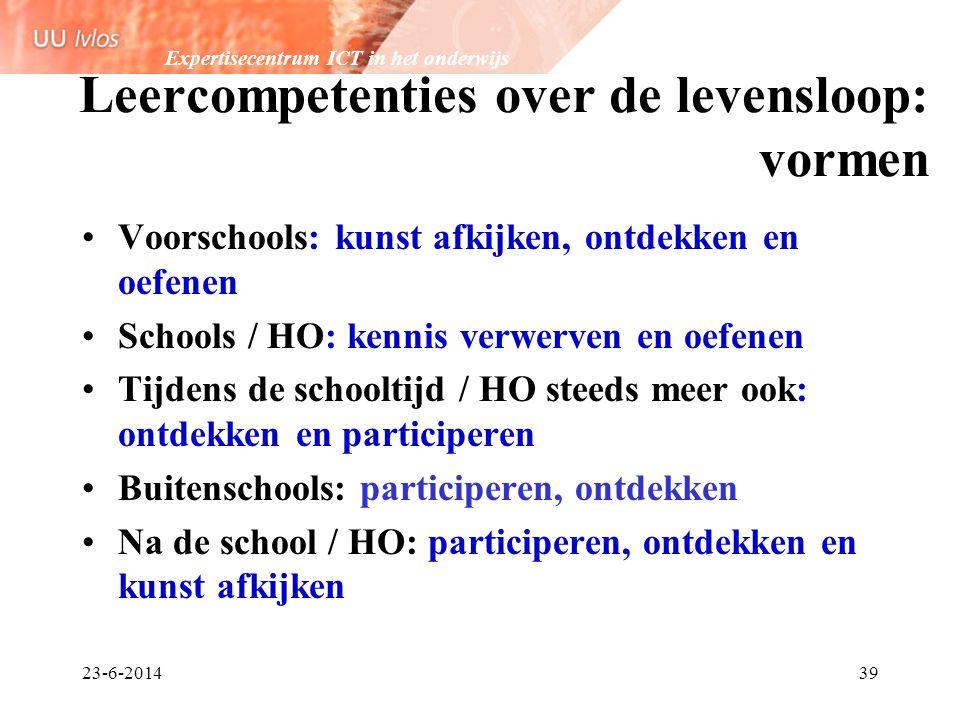Expertisecentrum ICT in het onderwijs 23-6-201439 Leercompetenties over de levensloop: vormen •Voorschools: kunst afkijken, ontdekken en oefenen •Scho