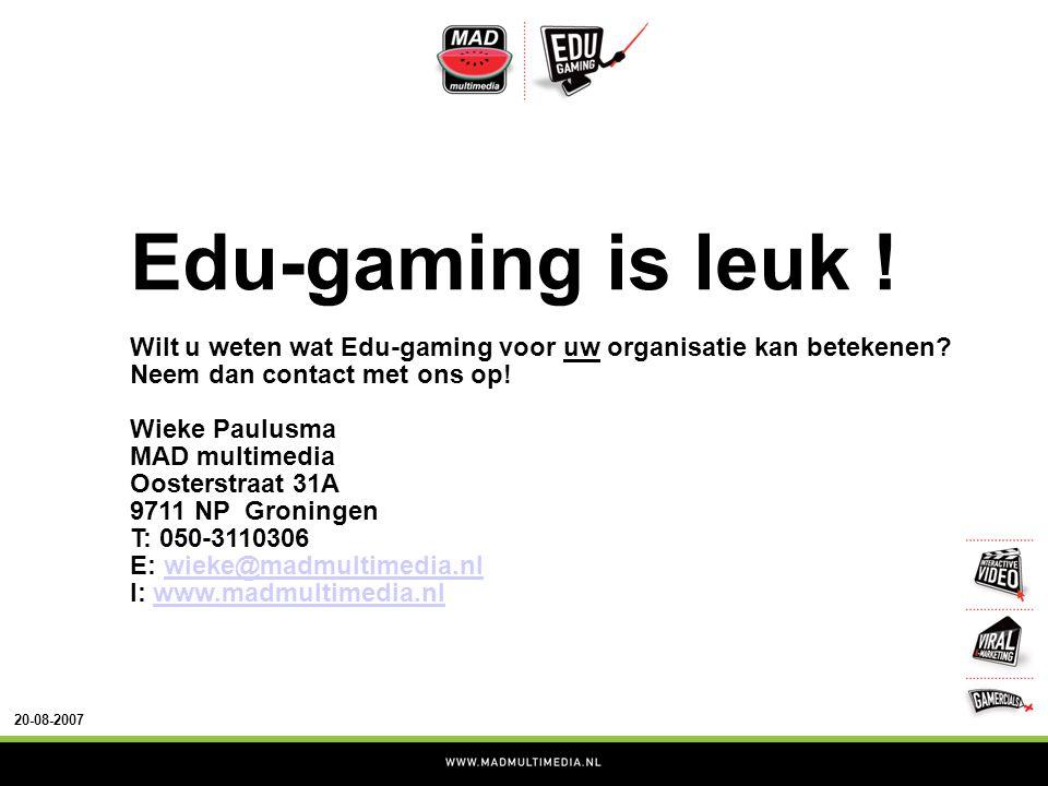 20-08-2007 Edu-gaming is leuk . Wilt u weten wat Edu-gaming voor uw organisatie kan betekenen.