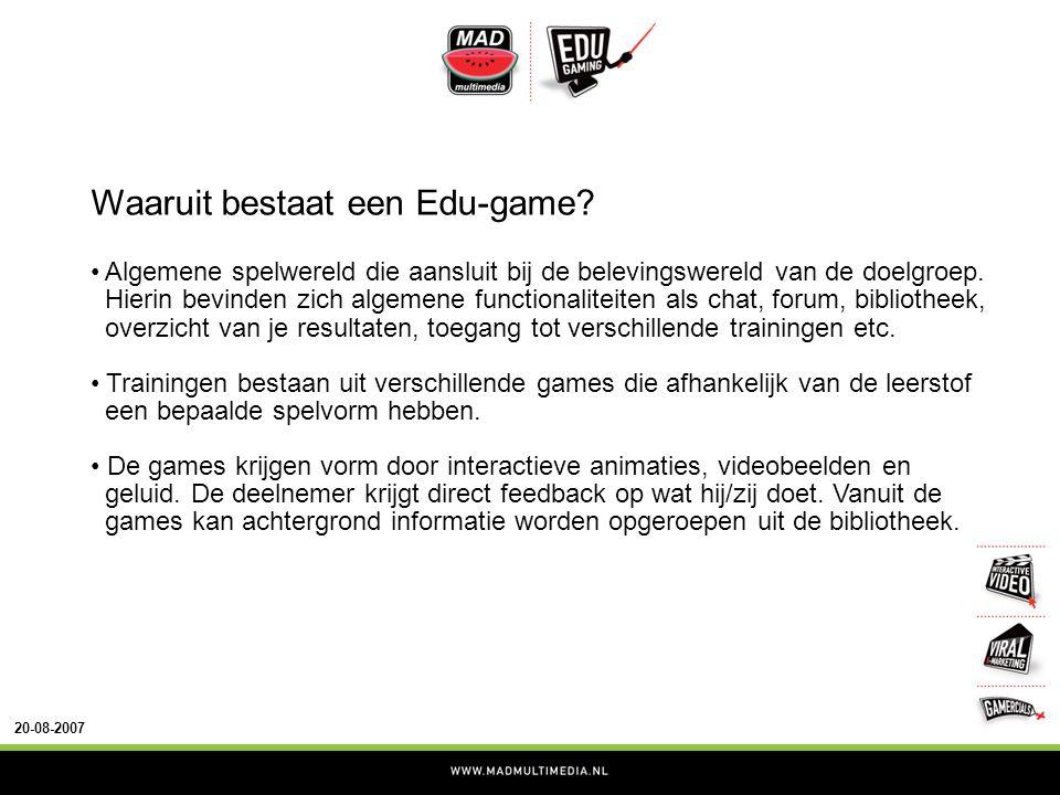 20-08-2007 Waaruit bestaat een Edu-game.