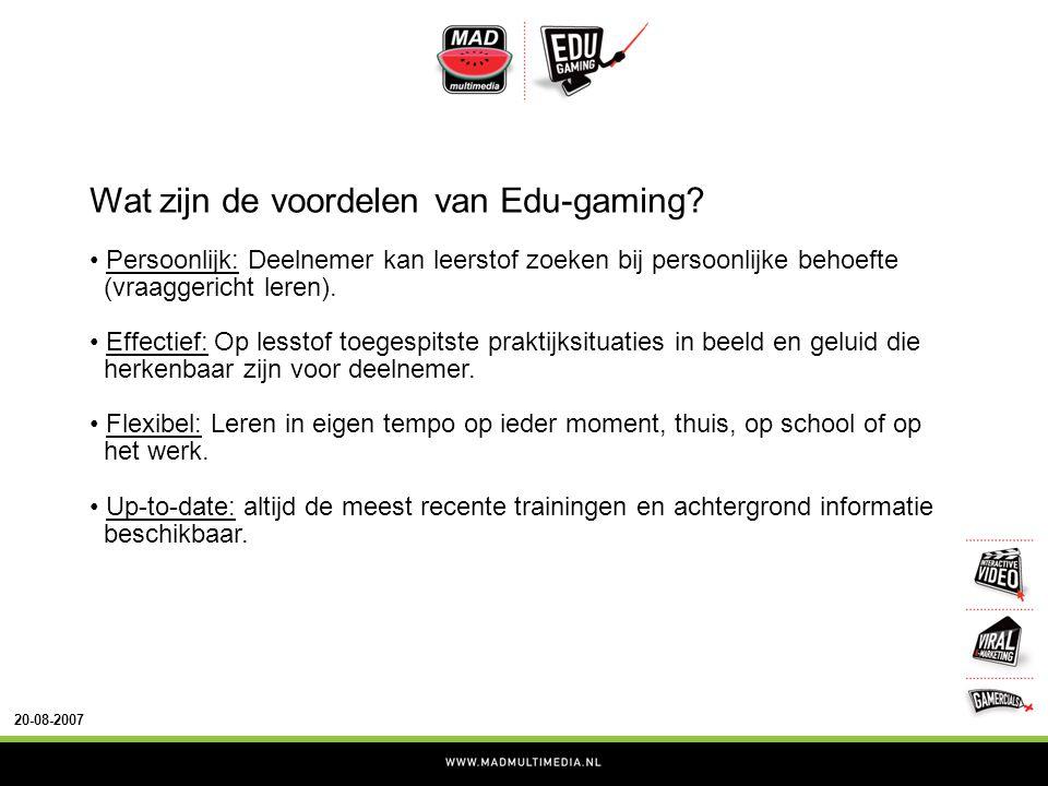 20-08-2007 Wat zijn de voordelen van Edu-gaming.