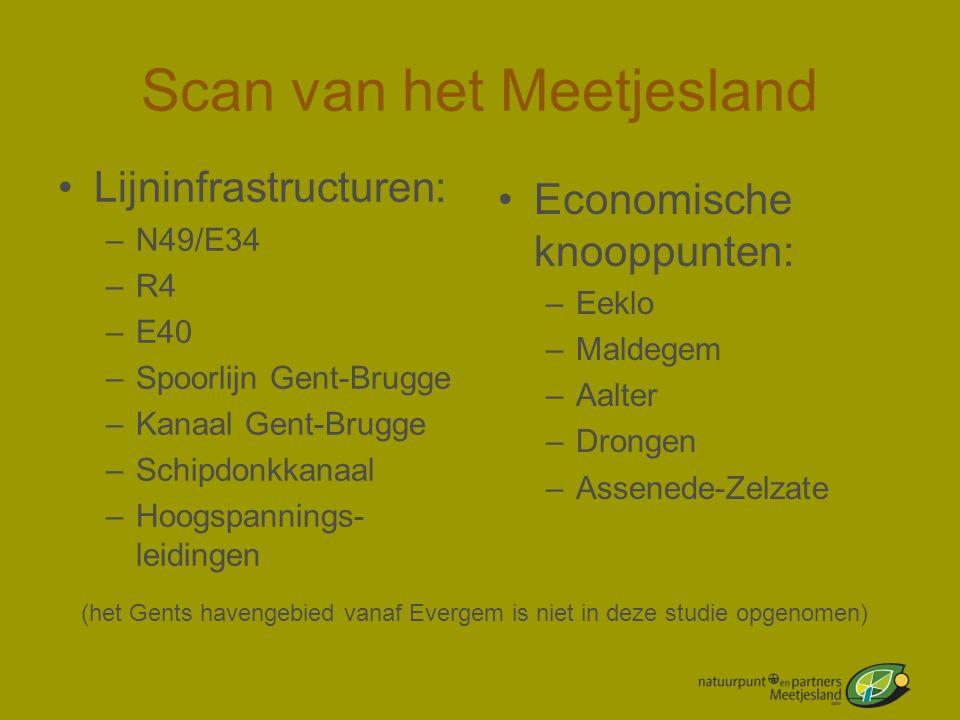 Scan van het Meetjesland •Lijninfrastructuren: –N49/E34 –R4 –E40 –Spoorlijn Gent-Brugge –Kanaal Gent-Brugge –Schipdonkkanaal –Hoogspannings- leidingen