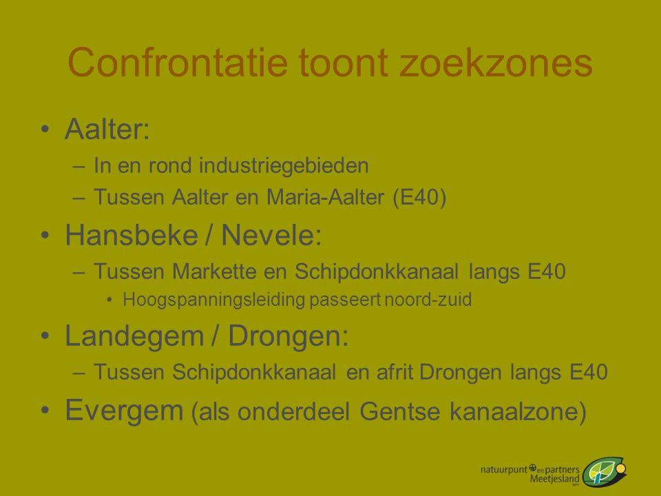 Confrontatie toont zoekzones •Aalter: –In en rond industriegebieden –Tussen Aalter en Maria-Aalter (E40) •Hansbeke / Nevele: –Tussen Markette en Schip