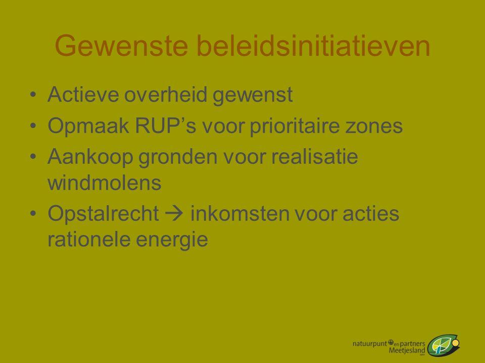 Gewenste beleidsinitiatieven •Actieve overheid gewenst •Opmaak RUP's voor prioritaire zones •Aankoop gronden voor realisatie windmolens •Opstalrecht 