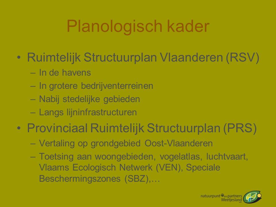 Planologisch kader •Ruimtelijk Structuurplan Vlaanderen (RSV) –In de havens –In grotere bedrijventerreinen –Nabij stedelijke gebieden –Langs lijninfra