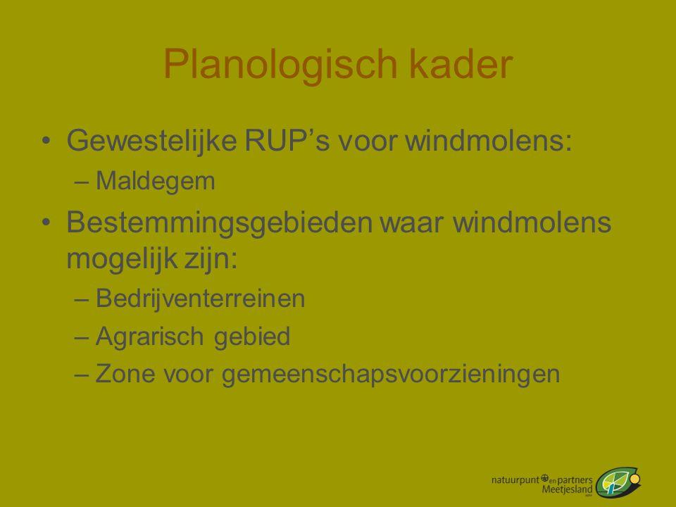 Planologisch kader •Gewestelijke RUP's voor windmolens: –Maldegem •Bestemmingsgebieden waar windmolens mogelijk zijn: –Bedrijventerreinen –Agrarisch g