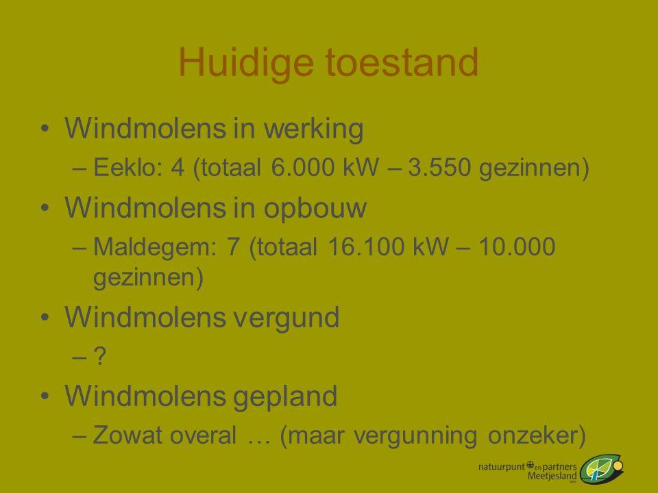 Huidige toestand •Windmolens in werking –Eeklo: 4 (totaal 6.000 kW – 3.550 gezinnen) •Windmolens in opbouw –Maldegem: 7 (totaal 16.100 kW – 10.000 gez