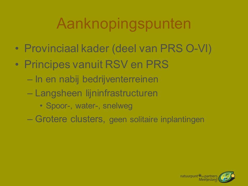Aanknopingspunten •Provinciaal kader (deel van PRS O-Vl) •Principes vanuit RSV en PRS –In en nabij bedrijventerreinen –Langsheen lijninfrastructuren •