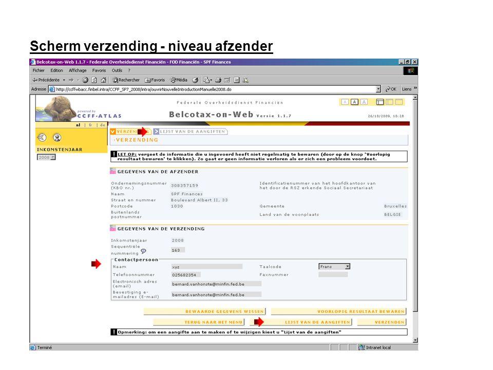 Verzending Om de toepassing te verlaten klik op: Via de knop TERUG NAAR HET MENU kan u de sessie beëindigen.