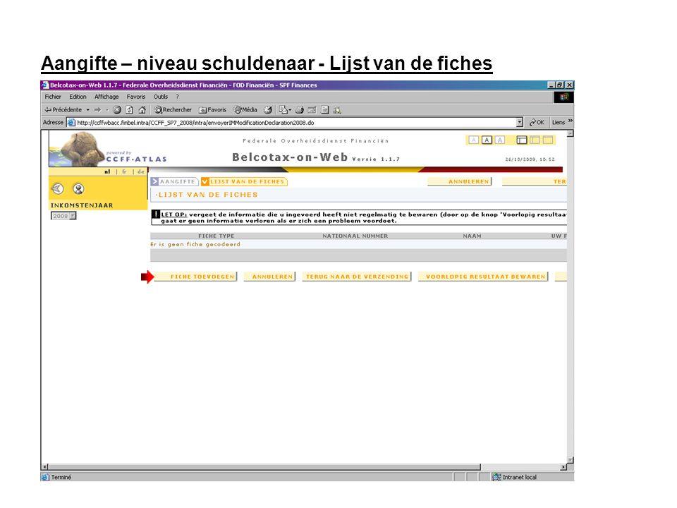 Fiche Kies een type fiche Vul de identificatiegegevens van de genieter in.