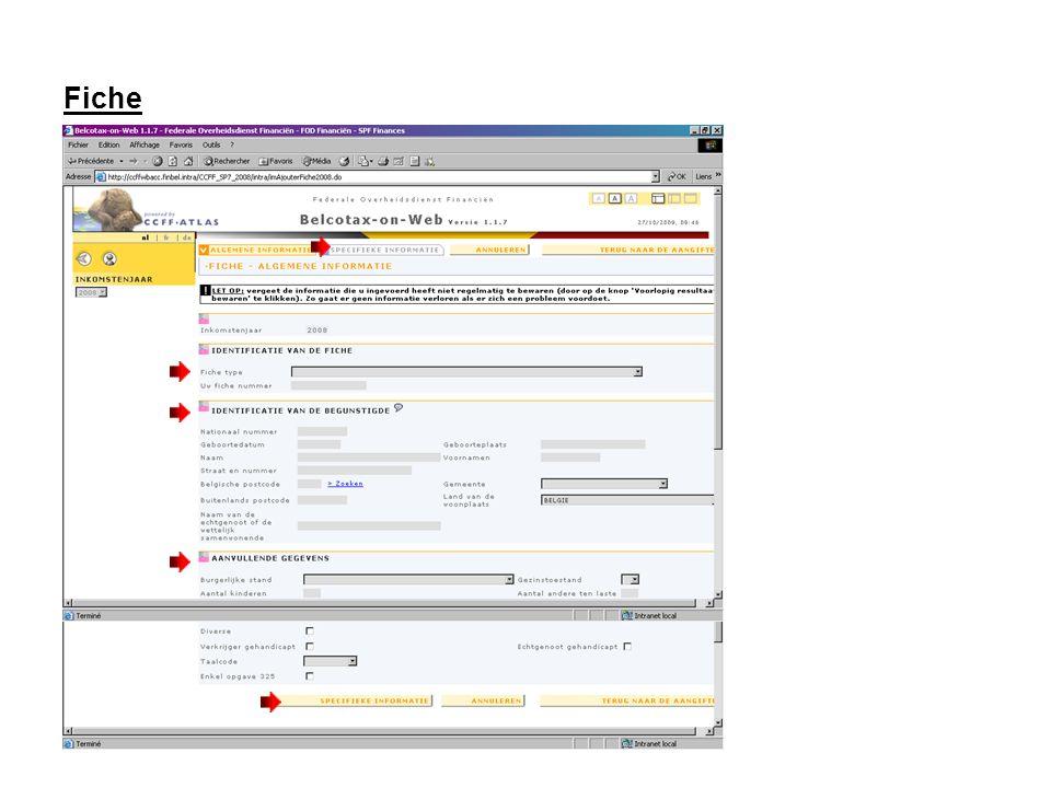 Fiche Vul de specifieke gegevens van de fiche in en klik op de knop Terug naar de aangifte .