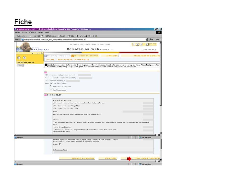 Terug naar de aangifte De ingegeven fiche bevindt zich nu in de lijst van de fiches.