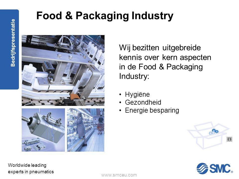 www.smceu.com Worldwide leading experts in pneumatics Bedrijfspresentatie Wij bezitten uitgebreide kennis over kern aspecten in de Food & Packaging Industry: • Hygiëne • Gezondheid • Energie besparing Food & Packaging Industry