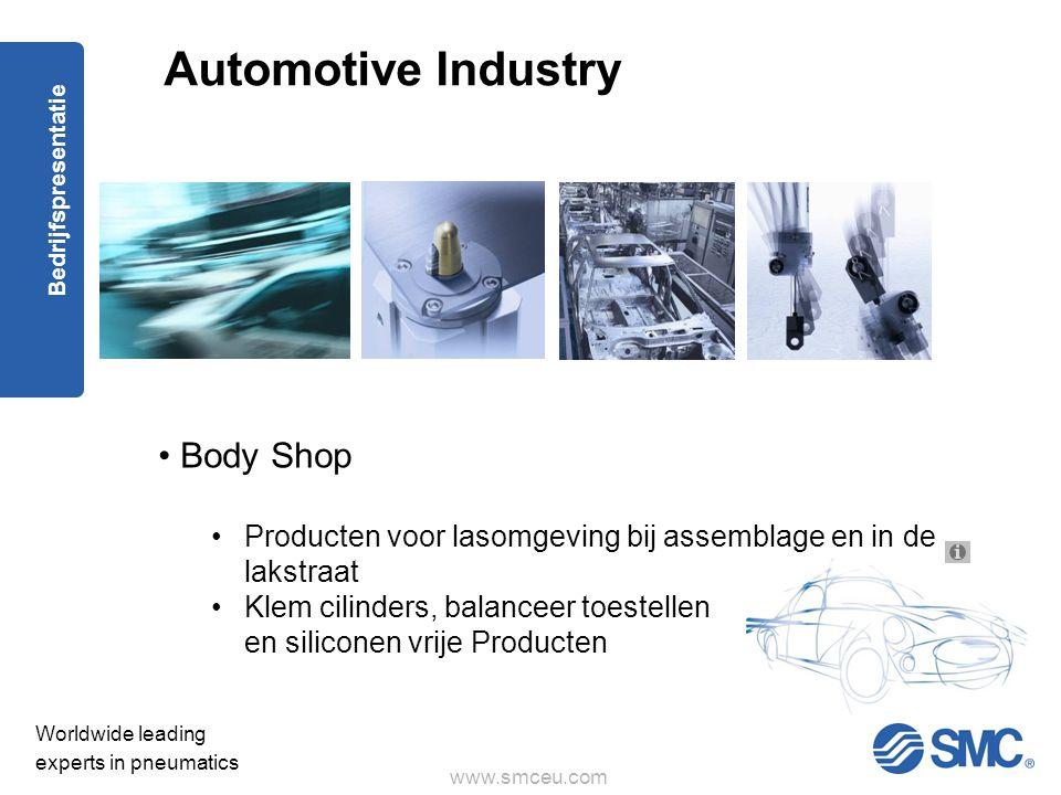 www.smceu.com Worldwide leading experts in pneumatics Bedrijfspresentatie • Body Shop •Producten voor lasomgeving bij assemblage en in de lakstraat •Klem cilinders, balanceer toestellen en siliconen vrije Producten Automotive Industry