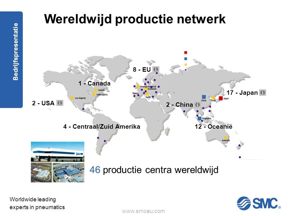 www.smceu.com Worldwide leading experts in pneumatics Bedrijfspresentatie Wereldwijd productie netwerk 46 productie centra wereldwijd 2 - USA 17 - Japan 8 - EU 1 - Canada 2 - China 12 - Oceanië 4 - Centraal/Zuid Amerika