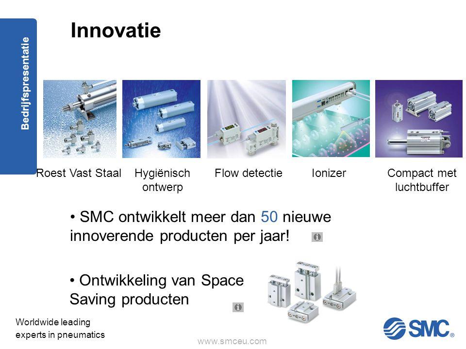 www.smceu.com Worldwide leading experts in pneumatics Bedrijfspresentatie • SMC ontwikkelt meer dan 50 nieuwe innoverende producten per jaar.