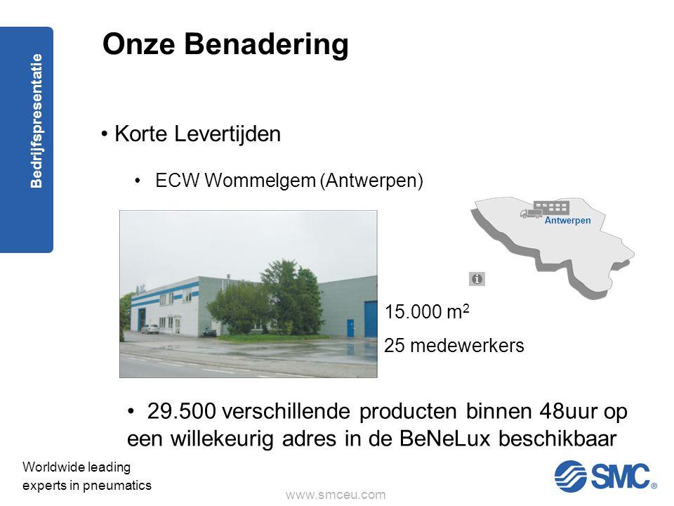 www.smceu.com Worldwide leading experts in pneumatics Bedrijfspresentatie Onze Benadering • Korte Levertijden •ECW Wommelgem (Antwerpen) Antwerpen • 29.500 verschillende producten binnen 48uur op een willekeurig adres in de BeNeLux beschikbaar 15.000 m 2 25 medewerkers