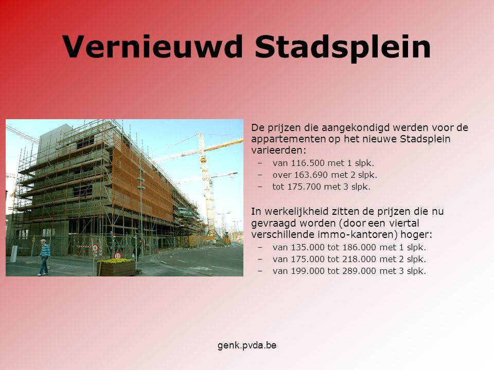 genk.pvda.be Vernieuwd Stadsplein •De prijzen die aangekondigd werden voor de appartementen op het nieuwe Stadsplein varieerden: –van 116.500 met 1 sl