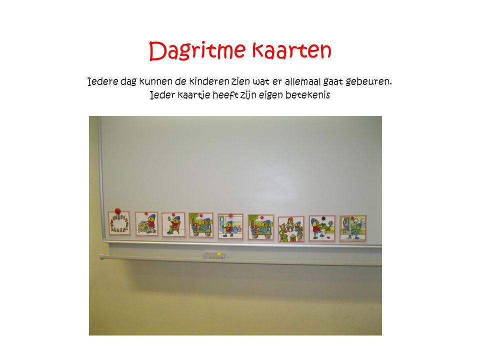Dagritme kaarten Iedere dag kunnen de kinderen zien wat er allemaal gaat gebeuren. Ieder kaartje heeft zijn eigen betekenis